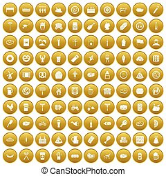 100 meat icons set gold - 100 meat icons set in gold circle...