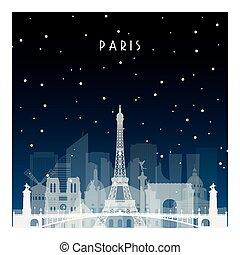 nuit, hiver, paris.