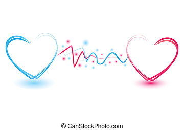connecting hearts - illustration of connecting hearts on...