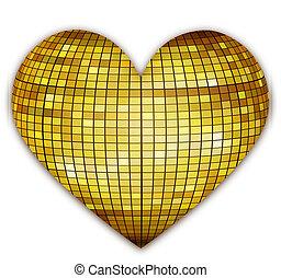 golden disco heart - illustration of disco heart on white...