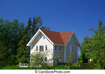 village house - village wooden house under blue sky