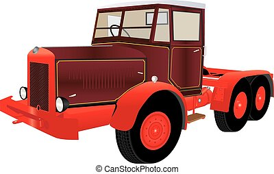 Vintage Articulated Truck - A Vintage Red and Maroon...
