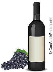 wine with grapes - illustration of wine with grapes on white...