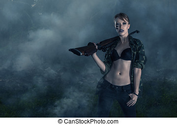 Female warrior - Apocalyptic portrait of young sexy woman...
