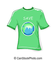 save earth t-shirt - illustration of save earth t shirt on...