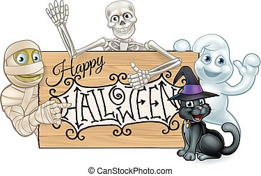 Happy Halloween Cartoon Monsters Sign Background - Happy...