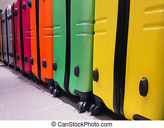 suitcases in the luggage storage at the airport to control -...