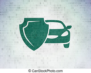 Insurance concept: Car And Shield on Digital Data Paper...