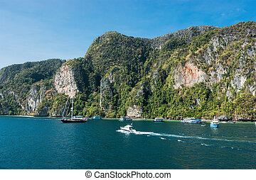 General view of the tropical island Phi-Phi Leh
