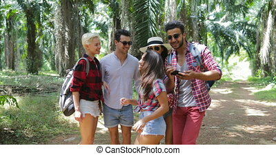 People Group Taking Selfie Photo On Cell Smart Phone...