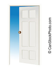 open door - illustartion of open door with sky on other side