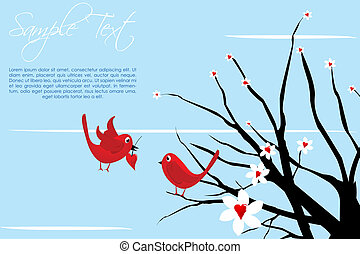 valentine card with birds - illustration of valentine card...