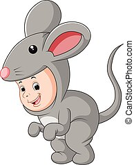 Cute baby wearing a mouse suit - illustration of Cute baby...