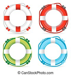 lifebuoy signs - illustration of lifebuoy signs on white...