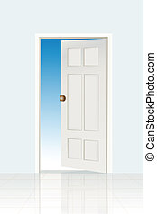 open door icon - illustration of open door icon on white...