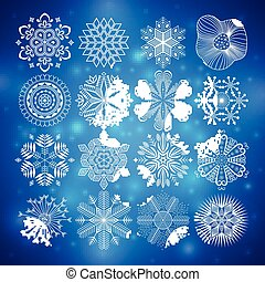 snowflakes collection vector illustration
