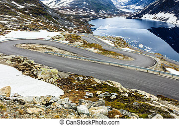 Djupvatnet lake and road to Dalsnibba mountain Norway -...