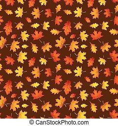 Autumn ocher pattern with orange leaves. - Autumn ocher...