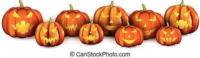 White banner with orange halloween pumpkins.
