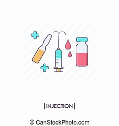 Collection of injection tools: syringe and ampule