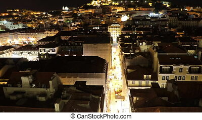 Lisbon aerial view - Aerial view of Lisbon downtown and...