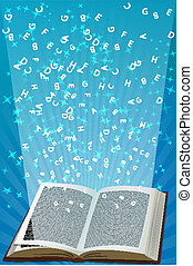 open book with alphabets flying