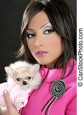 fashion doll womn with chihuahua dog pink 1980s - fashion...