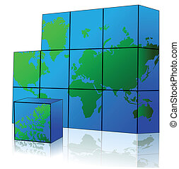 cube with world map