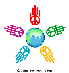 global peace - illustration of global peace on isolated...