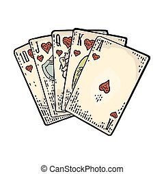 Royal flush in hearts. Male hand holding a game card. -...