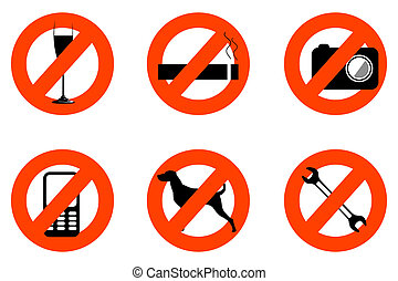 not allowed icons - illustration of not allowed icons on...
