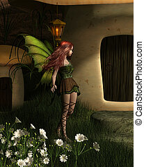 Fairy Toadstool House Nighttime Visitor - Fantasy...