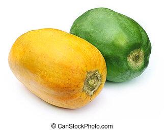 Two Fresh papayas over white background