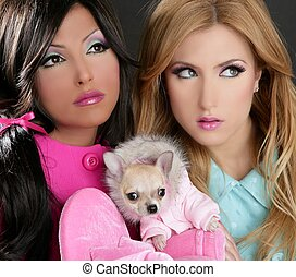 fashion doll women with chihuahua dog pink 1980s - fashion...