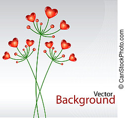 vector background with heart plants