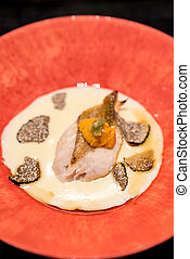 Grill Seabass with sea urchin - Grilled dish : Grilled rosy...