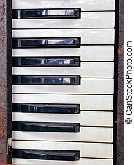 Old retro unnecessary faulty musical synthesizer, equipment...