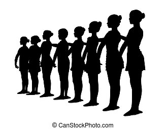 Ballet dancers standing in a row - Silhouette of ballet...