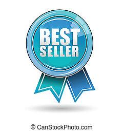 best seller label - illustration of best seller label on...