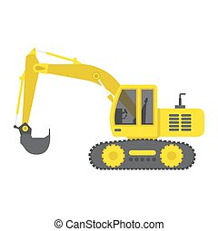 Excavator flat icon, transport and vehicle, digger sign...