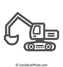 Excavator line icon, transport and vehicle, digger sign...