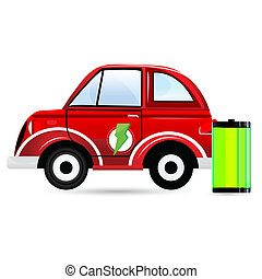 battery car - illustration of battery car on white...