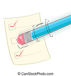 eraser on pencil - illustration of eraser on pencil on white...