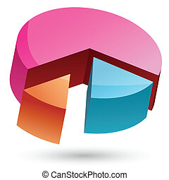 colored pie chart - illustration of colored pie chart on...
