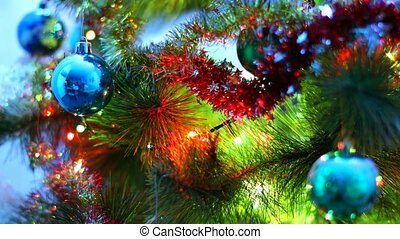 Macro view of decorated Christmas Tree - Creative abstract...