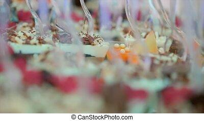 Tiramisu in a Glass Cup - Tray with delicious Tiramisu in a...