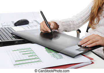 hand on graphic tablet. - hands on graphic tablet.. Isolated...