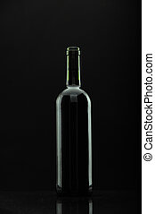 bottle of wine over black, reflexions.