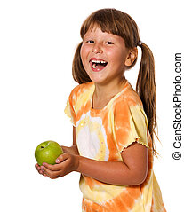 Girl holding apple - Six years Girl holding apple isolated...