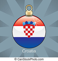 Croatia flag in christmas bulb - fully editable vector...